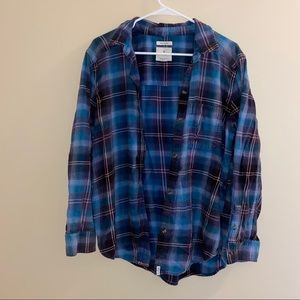 Blue distressed flannel